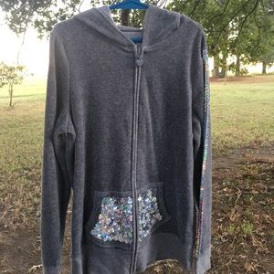 Justice girls size 10 sequin hoodie gray pockets